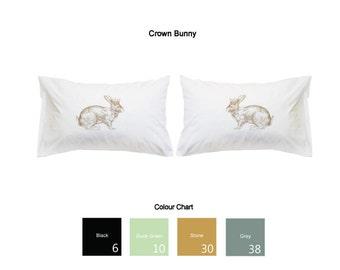 Crown Bunny Printed Pillowcases