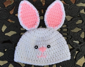 Crochet Baby Bunny Hat, Easter Bunny Hat Crochet, White Bunny Hat, Pink Ears Bunny Hat, Baby Photo Prop, Child Bunny Hat, FREE SHIPPING