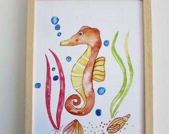 Art print sea horse