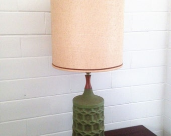 Mid Century Modern Table Lamp Ceramic Green Retro Vintage Pottery Geometric