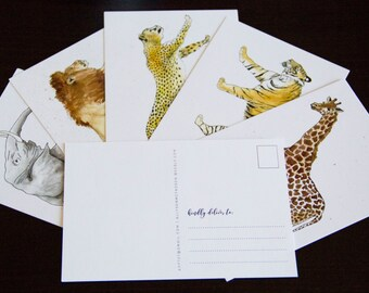 Watercolor Animal Postcards