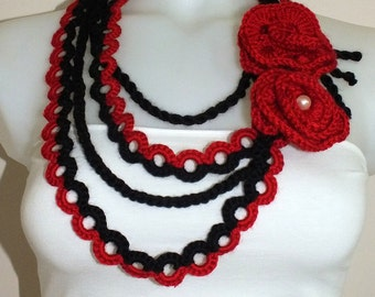 Black and red crochet necklace Crochet lariat necklace  jewelry Flower crochet necklace Irish crochet  Handmade Scarf For her gift