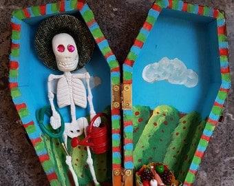 Farmer Sugar Skull Coffin