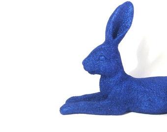 Lounging glitter bunny statue