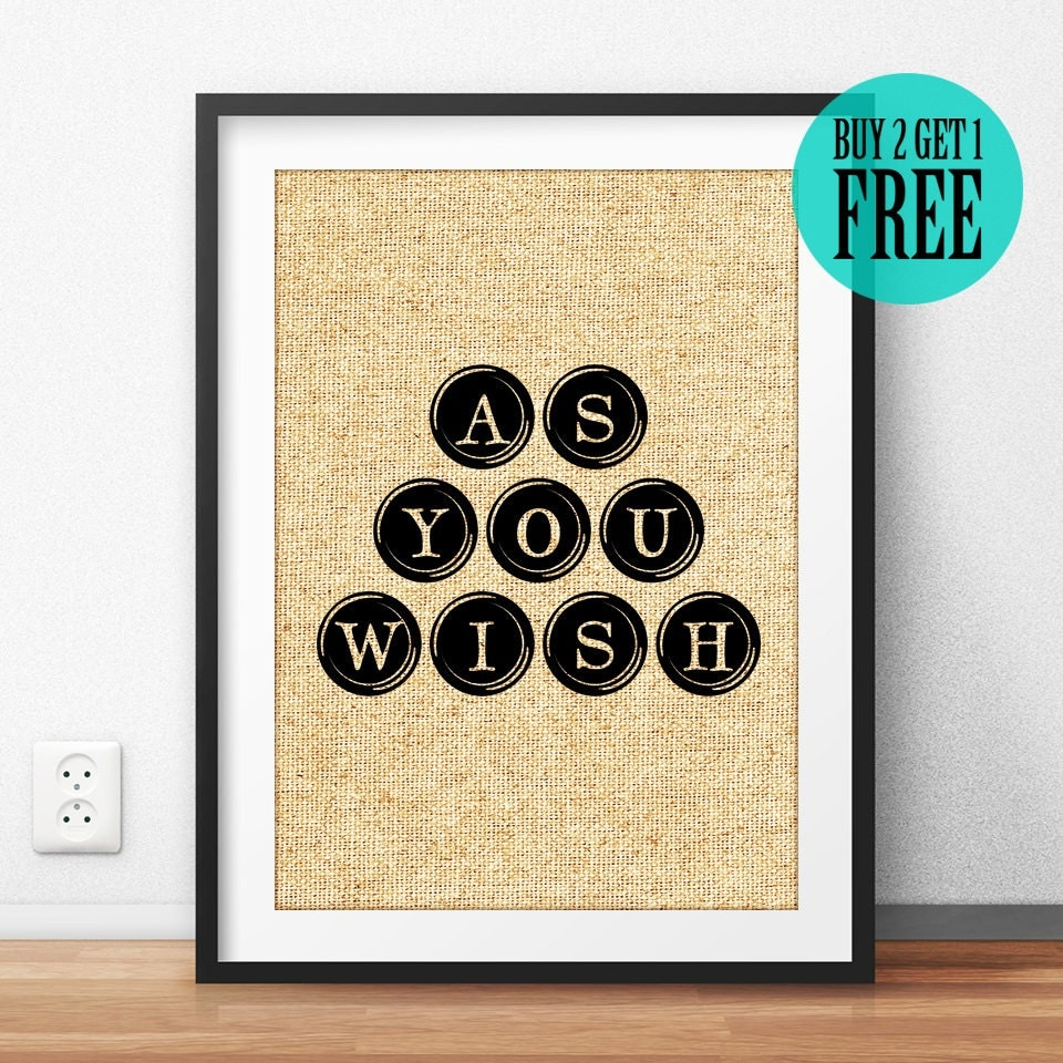 The Princess Bride Poster As You Wish Inspired Quote Movie
