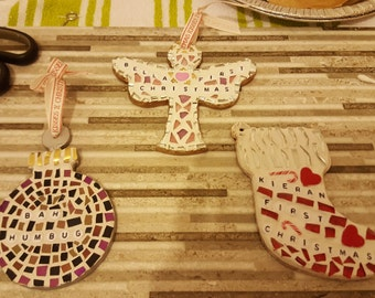 Mosaic Christmas decorations personalized.