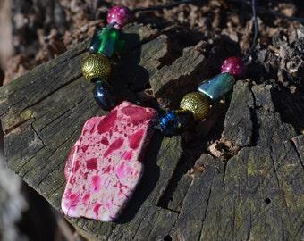 Pink Jasper Beaded Necklace