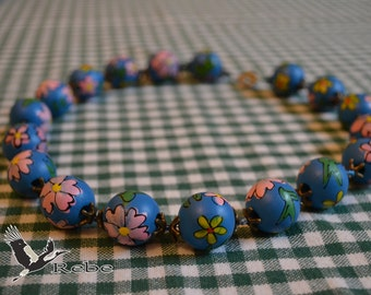 Floral wooden Rebe necklace