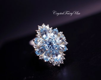 Genuine Topaz Ring - Swiss Blue Topaz Ring -  Engagement Ring - Fine Gemstone Ring - Size 10  Sterling Silver Diamond Ring