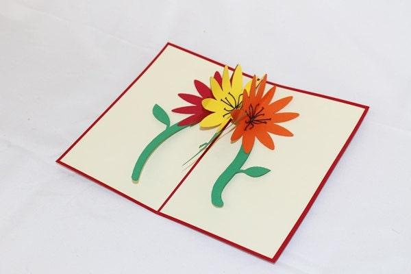 3D Get Well Flowers Pop Pop Up Card, Pop Up Greeting Ca