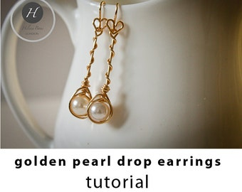Gold Pearl Drop Earrings tutorial,diy jewelry, diy earring, diy wedding jewelry tutorial, pdf tutorial, handmade jewelry tutorial for brides