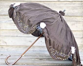 Chocolate Peony Sun Umbrella | SunnyBrella | Natural UV Protection | Parasol