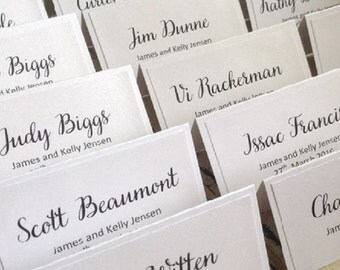 50 x White Elegant Script Place Cards Weddings or for any occasion