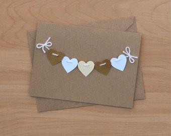 Heart Garland Greeting Card | 1st Wedding Anniversary Card | Engagement Card | Love Card | Kraft Paper Card | Blank Card with Envelope