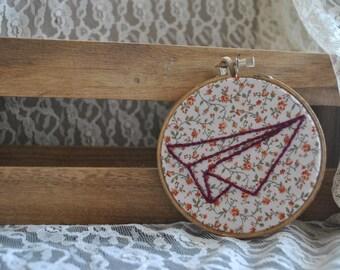 Paper Airplane Embroidery Hoop Art