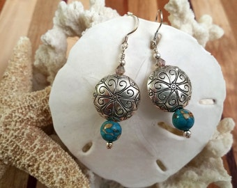Silver-etched round bead earrings with howlite, silver and champagne crystal beads