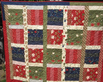 Cranberry Green and Blue Christmas Quilt