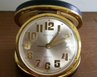 Europa Folding Travel Alarm Clock- 2 Jewels  Vintage