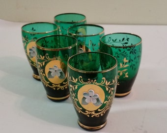 Green Cordial Glasses