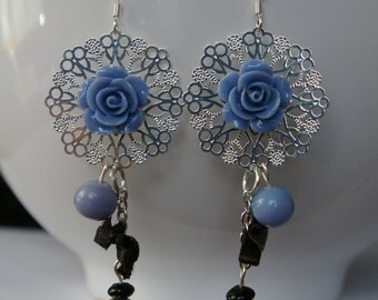 Blue Pink earrings skulls