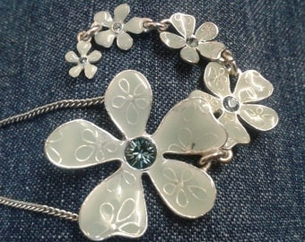 Beautiful Pilgrim Enamel Necklace with Mint Green Flowers