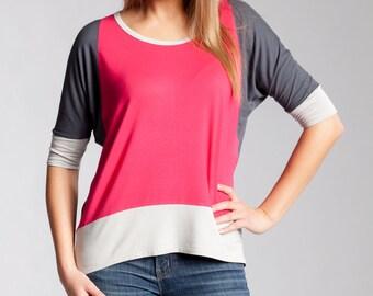 Women's Knit Jersey Top  Tee # 3012 Raspberry / Grey Reg 65.00