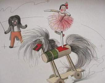 1903 FLORENCE UPTON GOLLIWOGG Original Proof Color Litho Print At The Circus, Wooden Toys