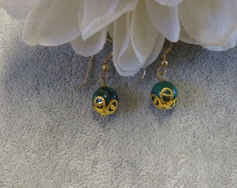 Azurite Bead Earrings with Gold