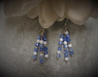 Blue and White Stone Earrings with Sterling Silver Ear Wires