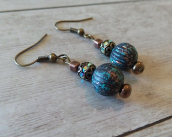 Antiqued Bronze Earrings with Turquoise and Brass Filigree AB Crystal Accents