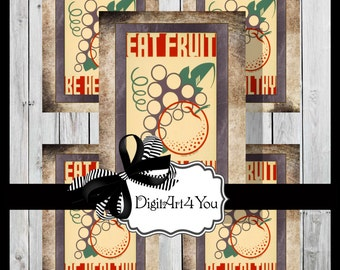 Greeting Card/Cards/Fruit/Veggies/Healthy/Vegan/Vegetarian/Nutrition/Retro/Unusual/Printable Card/Vintage Collage/Unusual/Collage/Blank Card