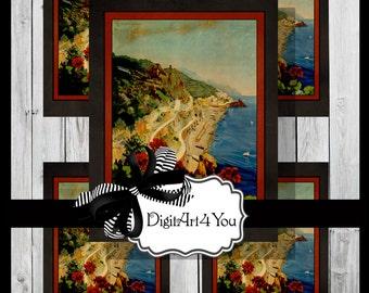 Greeting Card/Cards/Italy/Naples/Napoli/Capri/Scenic/Boat/Venice/Milan/Europe/Gorgeous/Travel/Tourist/Vintage Scene/Retro/DIY Card/Vintage