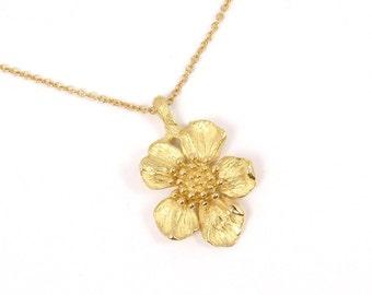 "Rare Vintage Tiffany & Co 18K Gold Wild Rose Dogwood Flower Chain Necklace 16"""