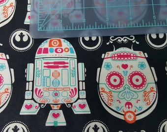 Star Wars Droid Fabric - Droid Sugar Skulls -  R2D2 - C3PO - Star Wars Droids -, by the HALF yard or Fat Quarter - Hard to Find Fabric