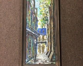 Vintage street scene oil painting