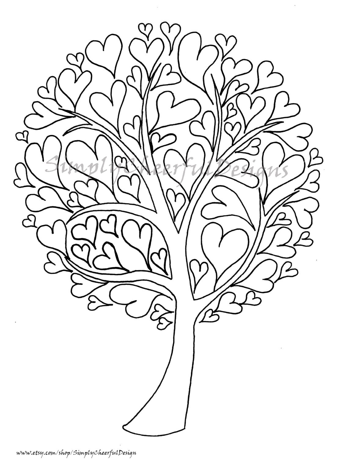 valentine heart tree printable coloring page a coloring page