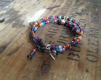 Colorful Paradise- Beaded Bracelet, Memory Wire Bracelet, Bohemian Bracelet
