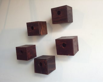 Bird Boxes Pentaptych // Wall hanging // Upcycled Art