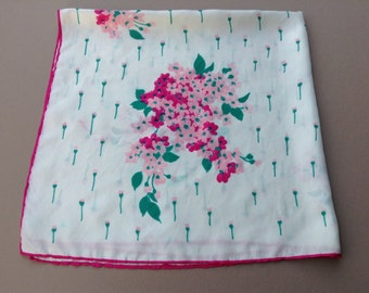 "Vintage Flowery  Green White and Pink Silk Scarf from Italy (  29,5"" square or 75 cm square)"