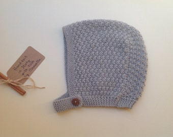 READY TO SHIP - Baby Pixie Bonnet hat 100% cashmere color grey,  hand knit, size 24 months