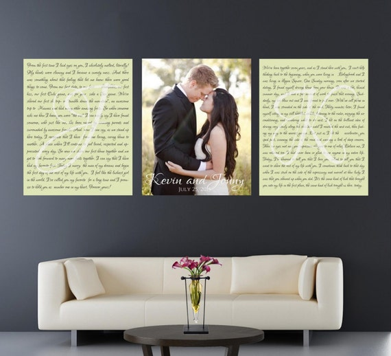Wedding Vow Artwork: Set Of 3 Wedding Vows Canvas Anniversary Gift By