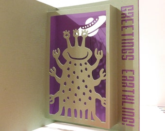 Alien greeting card, pop up, 3D, Hello