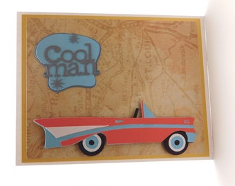 Nifty fifties blank greeting card, Cool man, 1957, 57 Chevy, Oldies but goodies