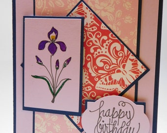Embossed Iris birthday card