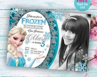 Frozen Invitation and free thank you card, Printable Invites, Elsa Frozen Birthday invite, any age. Princess invitation with photo