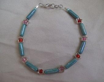Green stone flower bracelet