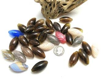 32 Blown Glass Horse Eye Beads 12 x 24mm (B87e)