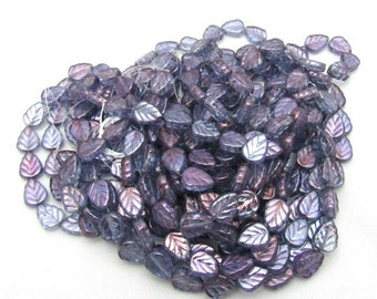 1 Strand Czech Glass Leaf Beads 8 x 10mm Luster Transparent Amethyst (B29f)