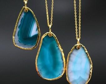 Blue with Gold Trim Agate Geode Quartz Druzy Necklace