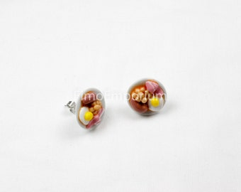Handmade Fimo Novelty English Breakfast Stud Earrings Boxed